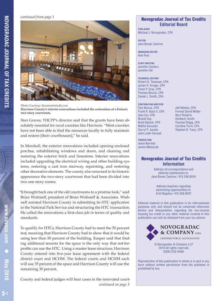 Journal of Tax Credits - Harrison Courthouse - KMC Tax Credits Project - Page 2